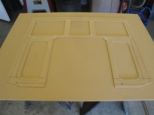 This is the main cosmetic trim panel, before and after vinyl, andt hen with the mesh (with black carpet backing) attached